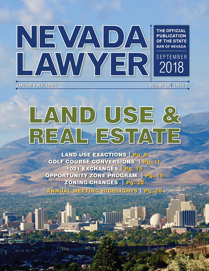 Nevada Lawyer Sept 2018 - Land Use & Real Estate